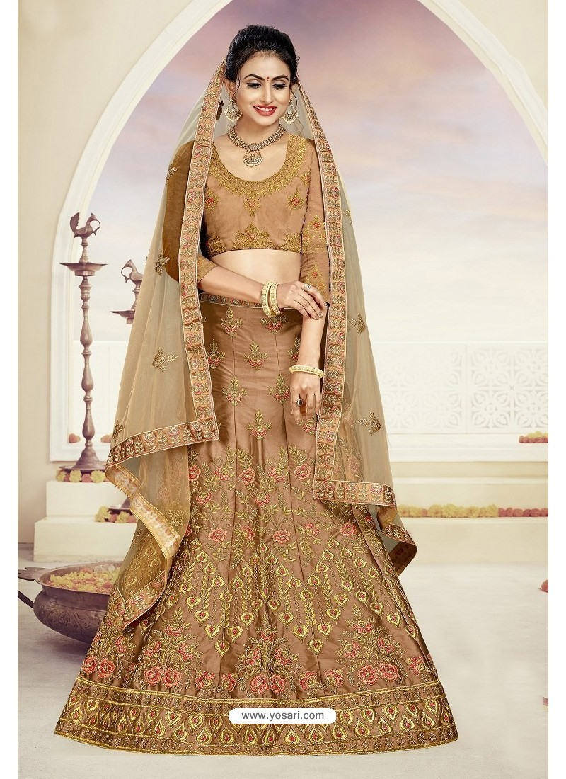 Beige Designer Heavy Embroidered Satin Silk Lehenga Choli