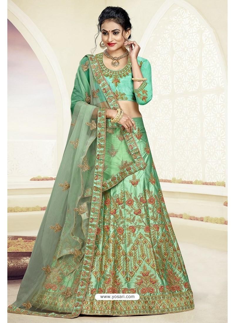 Sea Green Designer Heavy Embroidered Satin Silk Lehenga Choli