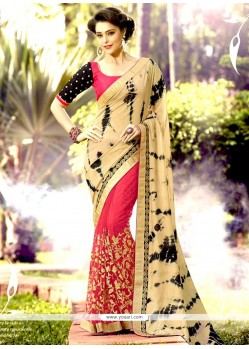 Heavenly Net Patch Border Work Designer Half N Half Saree
