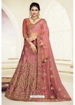 Old Rose Designer Heavy Embroidered Satin Silk Lehenga Choli