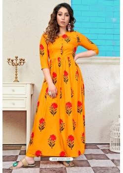 Orange Designer Readymade Muslin Long Kurti