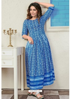 Blue Designer Readymade Muslin Long Kurti