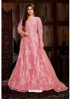 Pink Heavy Embroidered Net Designer Anarkali Suit
