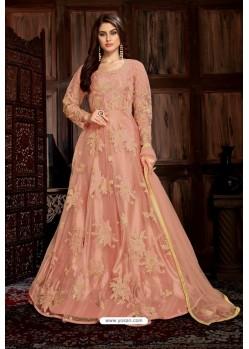 Light Orange Heavy Embroidered Net Designer Anarkali Suit