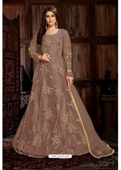 Light Brown Heavy Embroidered Net Designer Anarkali Suit