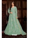 Sea Green Heavy Embroidered Net Designer Anarkali Suit