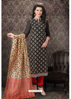 Black Special Designer Embroidered Churidar Salwar Suit