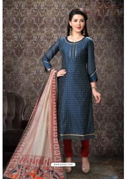 Teal Blue Special Designer Embroidered Churidar Salwar Suit