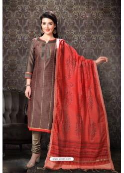 Light Brown Special Designer Embroidered Churidar Salwar Suit