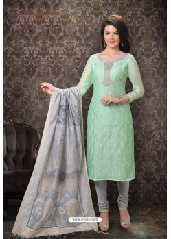 Sea Green Special Designer Embroidered Churidar Salwar Suit