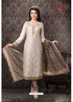 Light Beige Special Designer Embroidered Churidar Salwar Suit