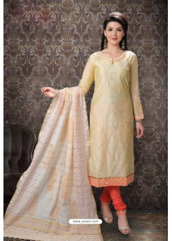 Cream Special Designer Embroidered Churidar Salwar Suit