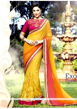 Customary Net Yellow Resham Work Designer Half N Half Saree