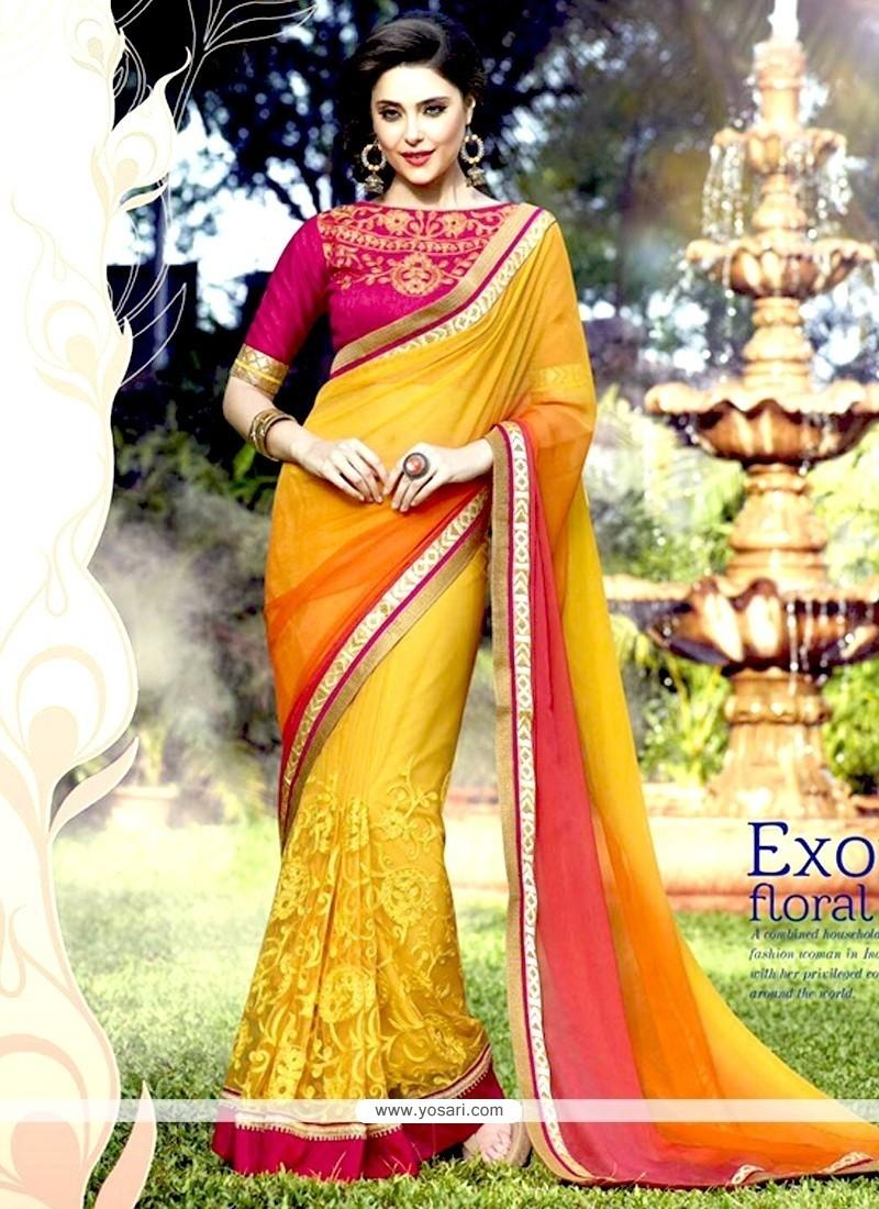 Customary Net Yellow Resham Work Designer Half N Half Saree