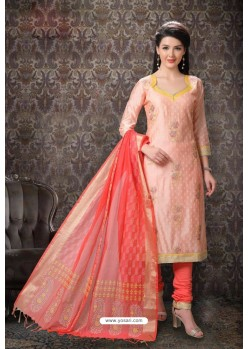 Light Orange Special Designer Embroidered Churidar Salwar Suit