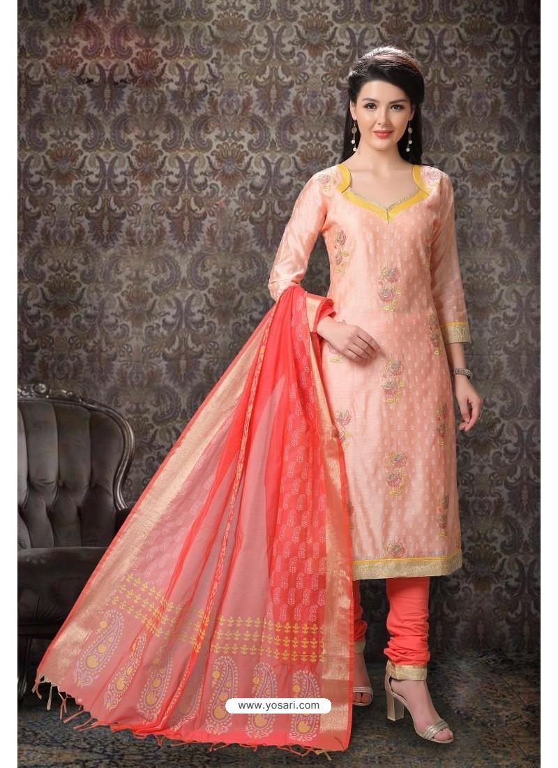 Light Orange Special Designer Embroidered Churidar Salwar Suit