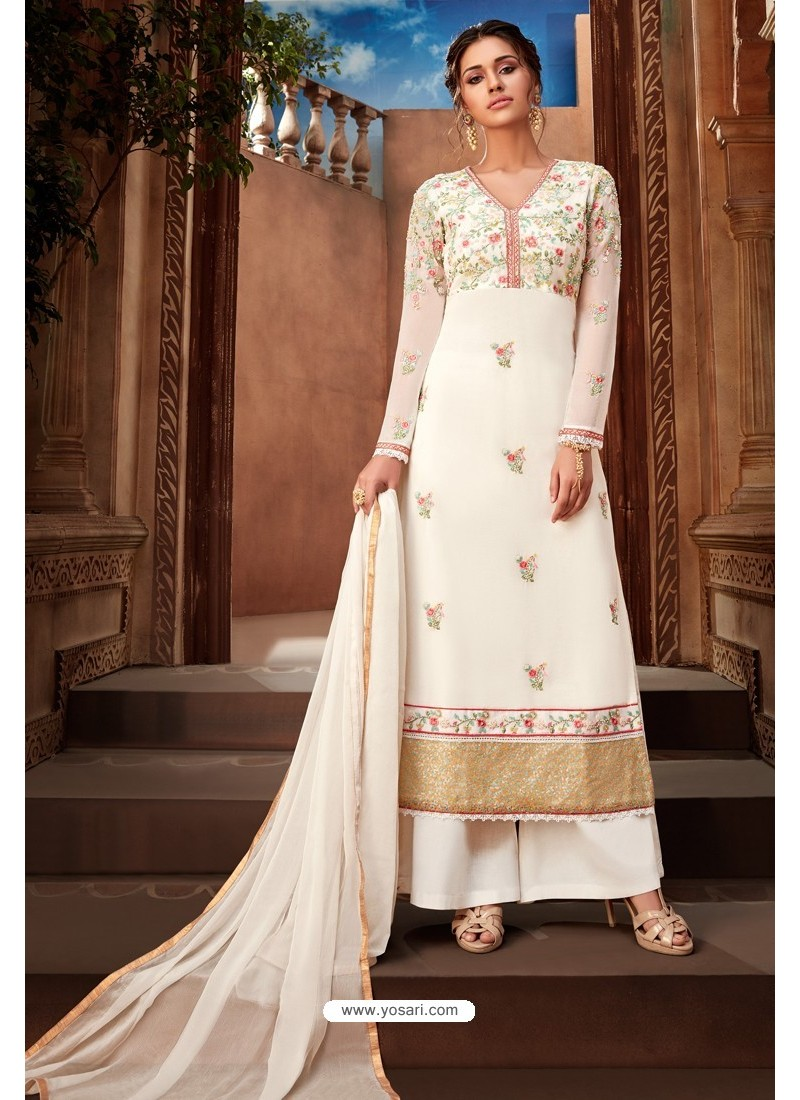 White Heavy Designer Party Wear Palazzo Salwar Suit