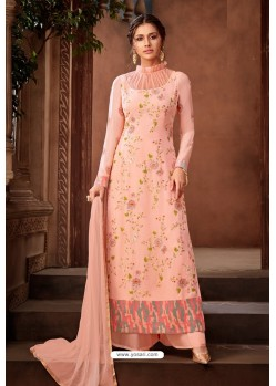 Light Orange Heavy Designer Party Wear Palazzo Salwar Suit