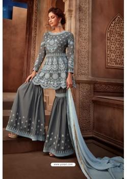 Grey Heavy Designer Party Wear Sharara Salwar Suit