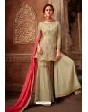 Olive Green Heavy Designer Party Wear Sharara Salwar Suit