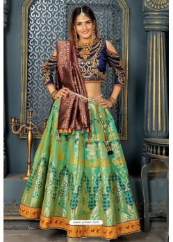 Green Heavy Embroidered Banarasi Silk Designer Lehenga Choli
