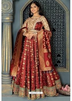 Maroon Heavy Embroidered Banarasi Silk Designer Lehenga Choli