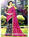 Lavish Magenta And Navy Blue Half N Half Designer Saree