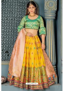 Yellow Heavy Embroidered Banarasi Silk Designer Lehenga Choli