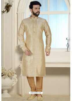 Light Beige Readymade Dhupion Silk Kurta Pajama For Men