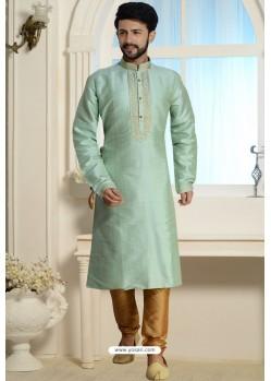 Sky Blue Readymade Dhupion Silk Kurta Pajama For Men
