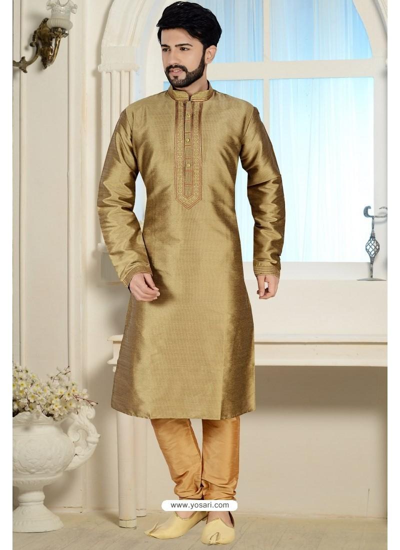 Marigold Readymade Dhupion Silk Kurta Pajama For Men