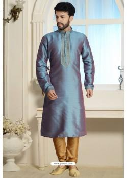 Teal Blue Readymade Dhupion Silk Kurta Pajama For Men