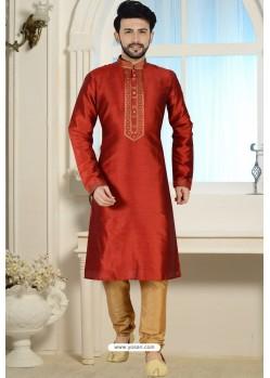 Red Readymade Dhupion Silk Kurta Pajama For Men