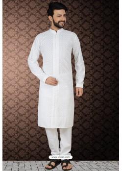 White Readymade Cotton Polly Kurta Pajama For Men