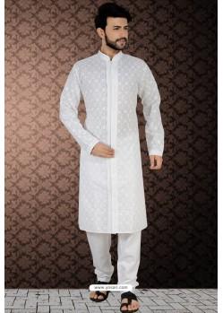 Dashing White Readymade Cotton Polly Kurta Pajama For Men