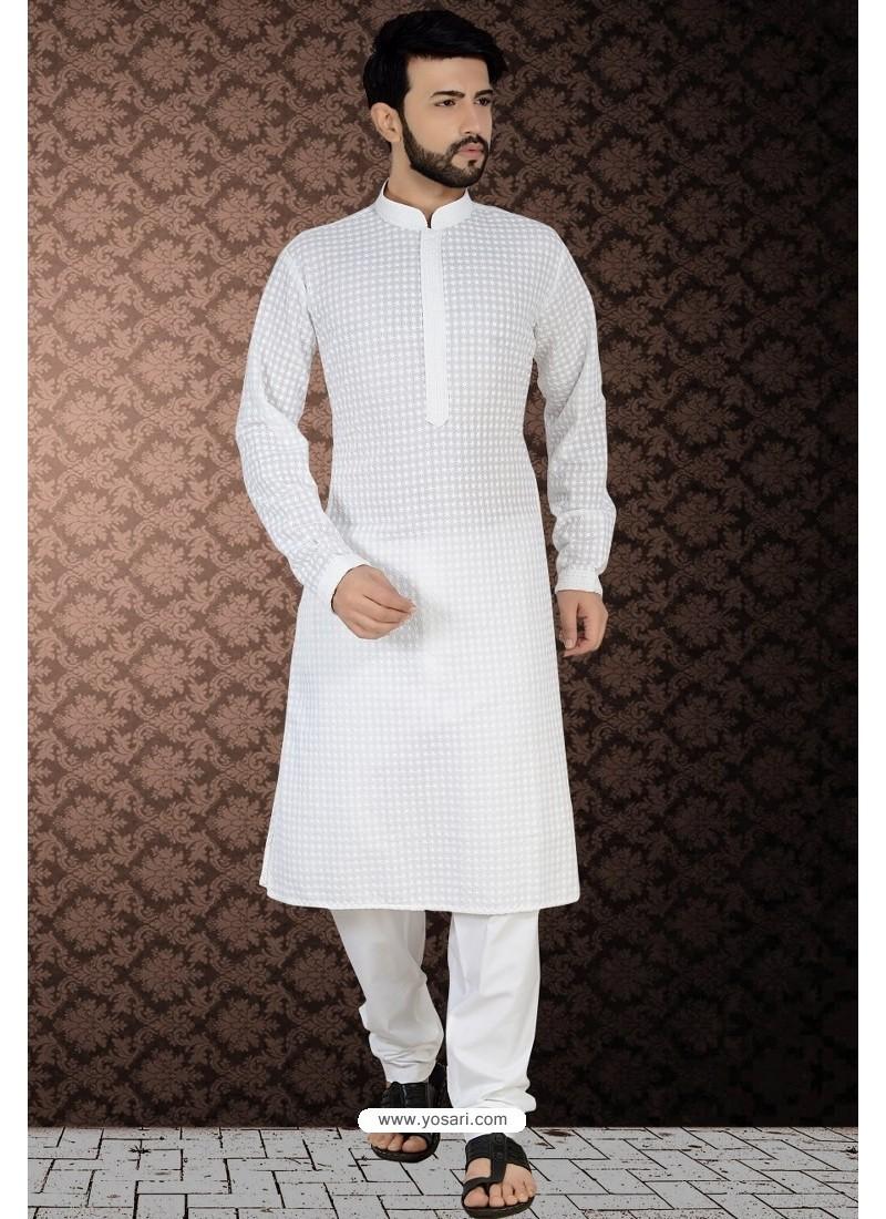 Traditional White Readymade Cotton Polly Kurta Pajama For Men