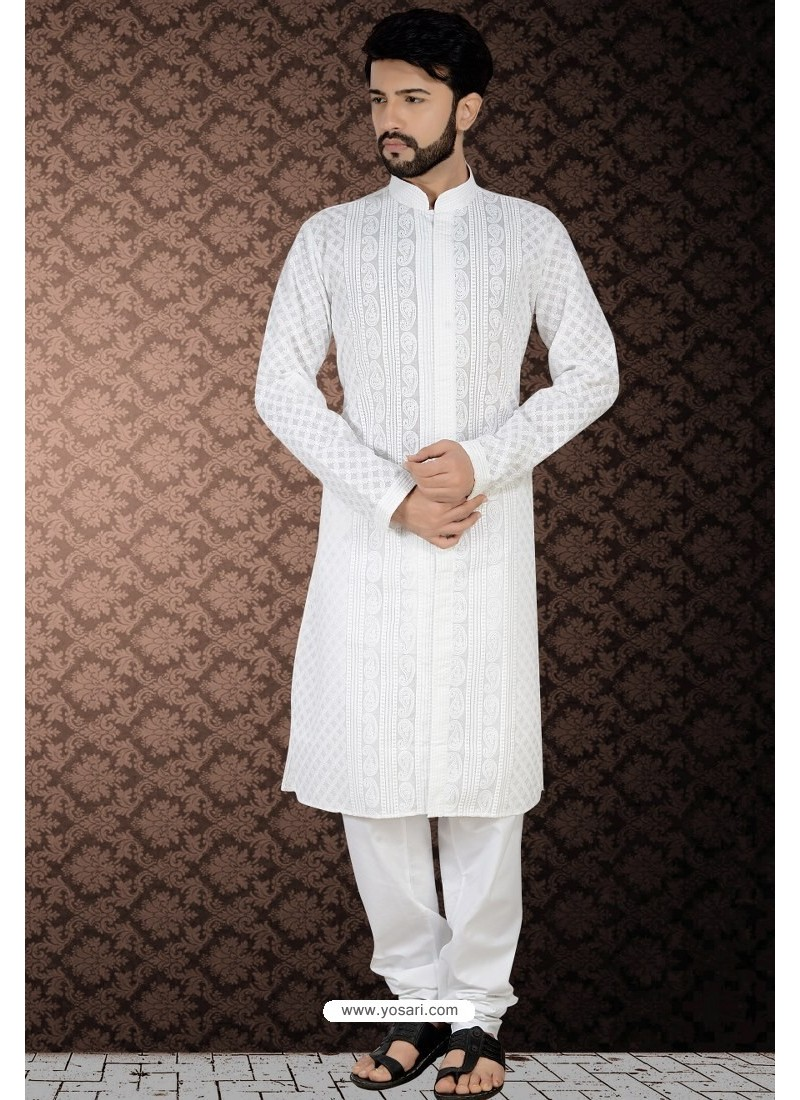Fascinating White Readymade Cotton Polly Kurta Pajama For Men