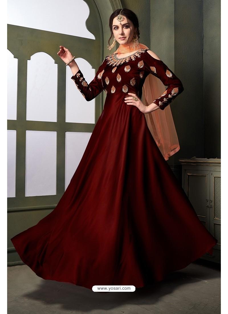 Maroon Heavy Embroidered Satin Silk Designer Gown Style Anarkali Suit