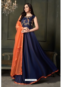 Navy Blue Heavy Embroidered Satin Silk Designer Gown Style Anarkali Suit