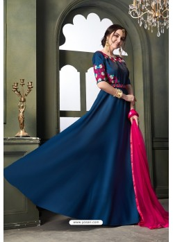 Teal Blue Heavy Embroidered Satin Silk Designer Gown Style Anarkali Suit