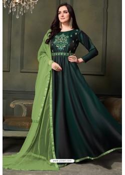 Dark Green Heavy Embroidered Satin Silk Designer Gown Style Anarkali Suit