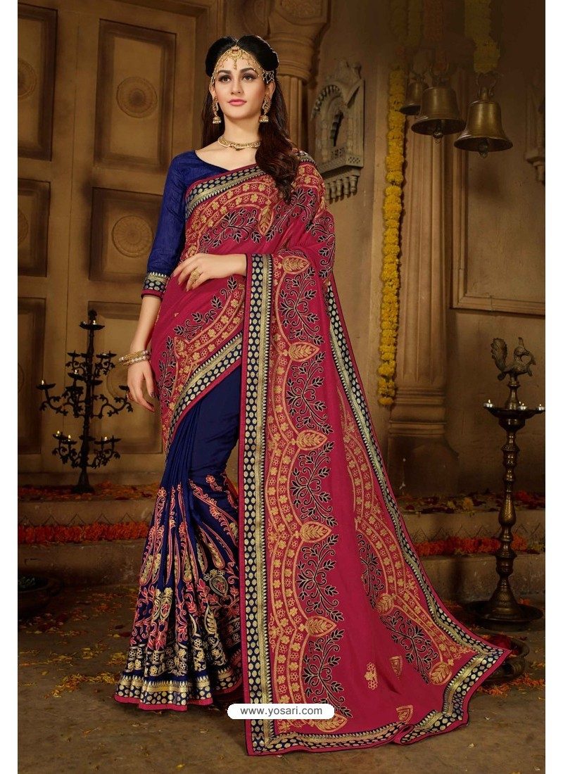Royal Blue Designer Embroidered Party WearᅠSari