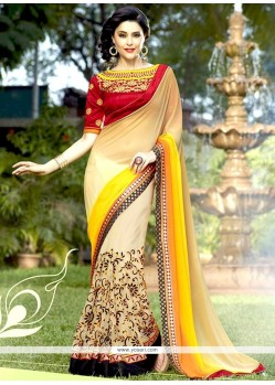 Stylish Net Cream And Yellow Designer Half N Half Saree