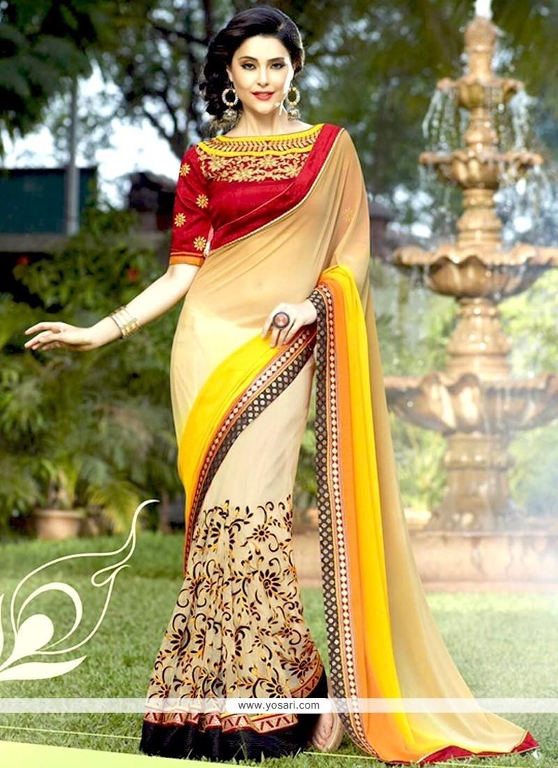 Stylish Net Cream And Yellow Designer Half N Half Saree