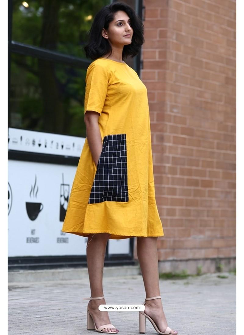 Yellow Designer Cotton Readymade Kurti