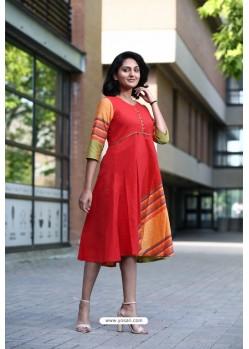 Red Designer Cotton Readymade Kurti