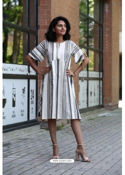 White Designer Khadi Cotton Readymade Kurti