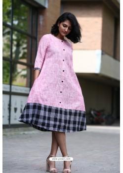 Pink Designer Khadi Cotton Readymade Kurti