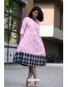 Pink Designer Cotton Readymade Kurti