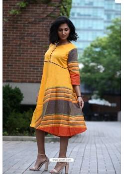 Mustard Designer Khadi Cotton Readymade Kurti